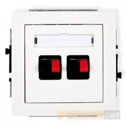 Gniazdo głośnikowe podwójne biały Karlik Deco