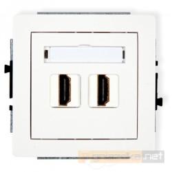 Gniazdo podwójne HDMI biały Karlik Deco