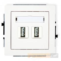 Gniazdo 2xUSB-AA podwójne biały Karlik Deco