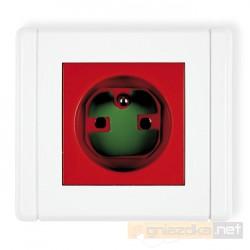 Gniazdo pojedyncze 2P+Z DATA z kluczem czerwony Karlik Flexi