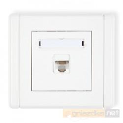 Gniazdo komputerowe pojedyncze 1xRJ45, kat. 5e, ekranowane biały Karlik Flexi