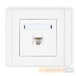Gniazdo komputerowe pojedyncze 1xRJ45, kat. 6 biały Karlik Flexi