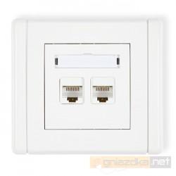 Gniazdo komputerowe podwójne 2xRJ45, kat. 5e biały Karlik Flexi