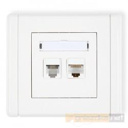 Gniazdo komputerowo-telefoniczne 1xRJ11 + 1xRJ45 kat. 5e biały Karlik Flexi