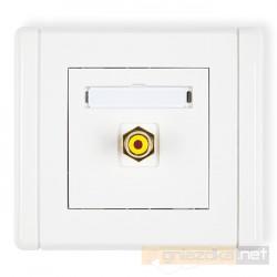 Gniazdo pojedyncze RCA (chinch) biały Karlik Flexi