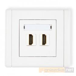 Gniazdo podwójne HDMI biały Karlik Flexi