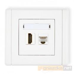 Gniazdo HDMI + RJ45 komputerowe kat. 5e biały Karlik Flexi