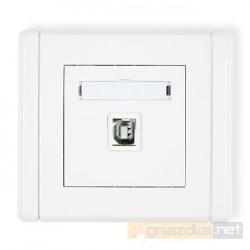 Gniazdo pojedyncze USB-AB biały Karlik Flexi