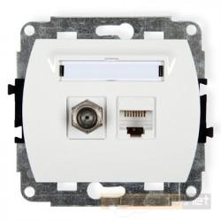 Gniazdo antenowo-komputerowe typu F(SAT) i RJ45 kat. 5e biały Karlik Trend