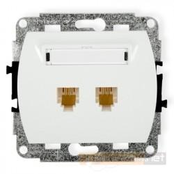 Gniazdo telefoniczne podwójne 2xRJ11 biały Karlik Trend