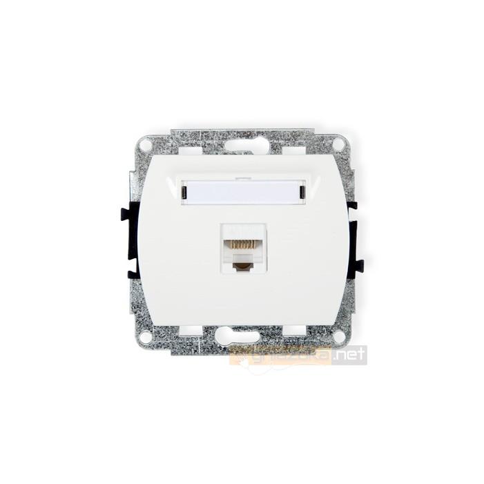 GNiazdo komputerowe pojedyncze 1xRJ45 kat. 5e biały Karlik Trend
