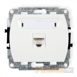Gniazdo komputerowe pojedyncze 1xRJ45 kat. 5e ekranowane biały Karlik Trend