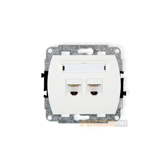 Gniazdo komputerowe podwójne 2xRJ45 kat 5e biały Karlik Trend