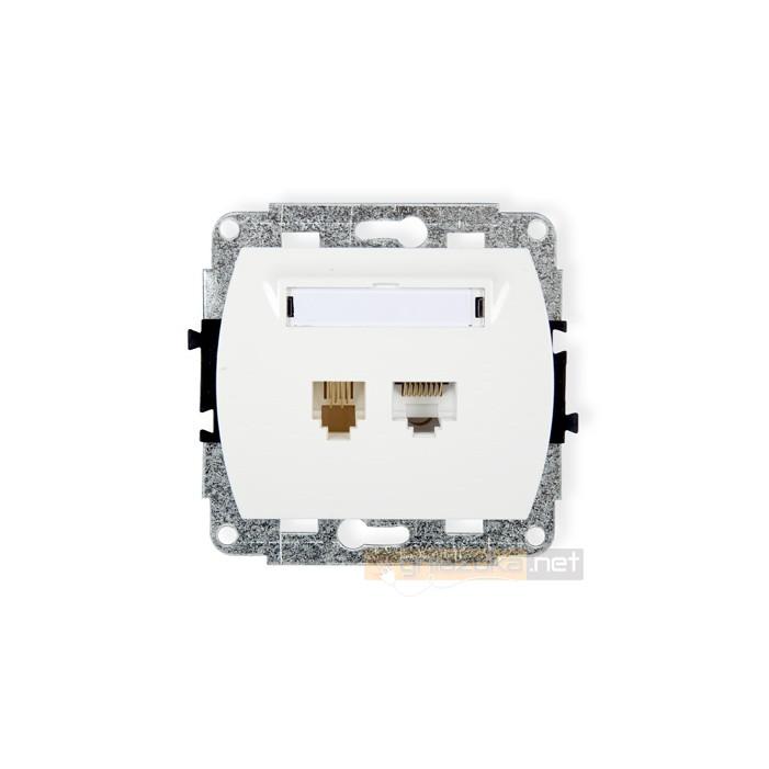 Gniazdo telefoniczno-komputerowe 1xRJ11 + 1x RJ45 kat. 5e biały Karlik Trend