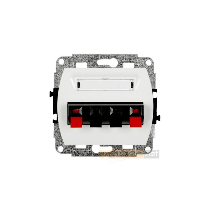 Gniazdo głośnikowe podwójne biały Karlik Trend