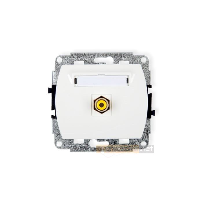 Gniazdo pojedyncze RCA (chinch) biały Karlik Trend