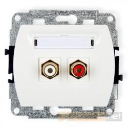 Gniazdo podwójne RCA (chinch) biały Karlik Trend