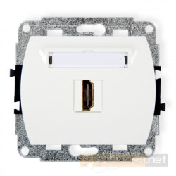 Gniazdo pojedyncze HDMI biały Karlik Trend