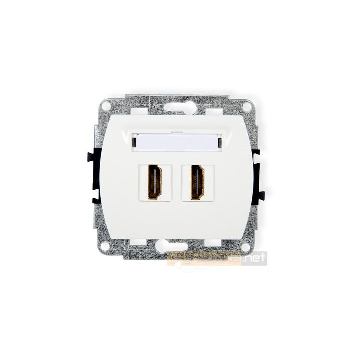 Gniazdo podwójne HDMI biały Karlik Trend