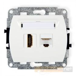 Gniazdo HDMI + RJ45 komputerowe kat. 5e biały Karlik Trend