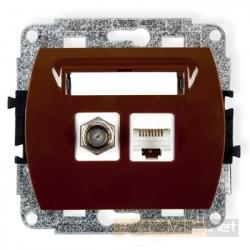 Gniazdo antenowo-komputerowe typu F(SAT) i RJ45 kat. 5e brązowy Karlik Trend
