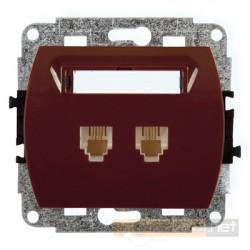 Gniazdo telefoniczne podwójne 2xRJ11 brązowy Karlik Trend