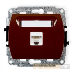 GNiazdo komputerowe pojedyncze 1xRJ45 kat. 5e brązowy Karlik Trend