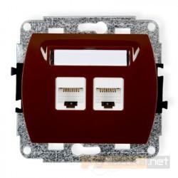 Gniazdo komputerowe podwójne 2xRJ45 kat 5e brązowy Karlik Trend