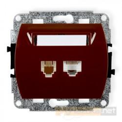 Gniazdo telefoniczno-komputerowe 1xRJ11 + 1x RJ45 kat. 5e brązowy Karlik Trend