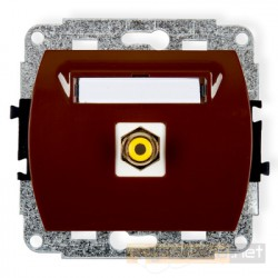 Gniazdo pojedyncze RCA (chinch) brązowy Karlik Trend