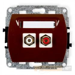 Gniazdo podwójne RCA (chinch) brązowy Karlik Trend