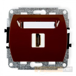 Gniazdo pojedyncze HDMI brązowy Karlik Trend