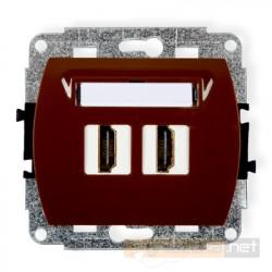 Gniazdo podwójne HDMI brązowy Karlik Trend