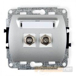 Gniazdo antenowe podwójne typu F (SAT) srebrny Karlik Trend