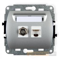 Gniazdo antenowo-komputerowe typu F(SAT) i RJ45 kat. 5e srebrny Karlik Trend