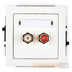 Gniazdo podwójne RCA (chinch) biały Karlik Deco