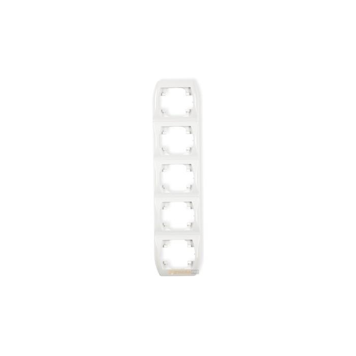 Ramka pionowa pięciokrotna biały Karlik Trend