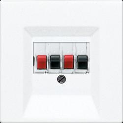 Gniazdo audio, podwójne z zaciskami, białe JUNG LS 990