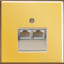 Gniazdo podwójne RJ45, kat.6 UAE, złote, JUNG LS Złoto 24 karaty