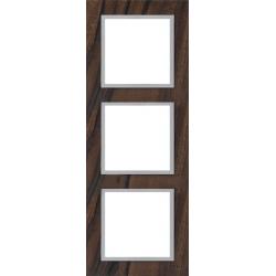 Ramka 3-krotna, drewniana, kolor, orzech włoski/alu EFAPEL LOGUS 90