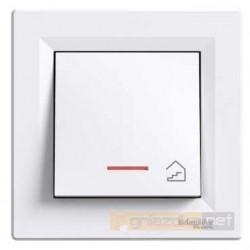 """Przycisk z symbolem """"schody"""" z podświetleniem biały Schneider Asfora"""