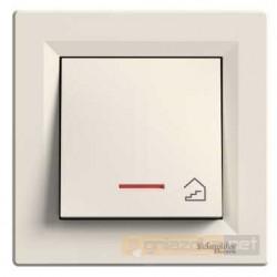 """Przycisk z symbolem """"schody"""" z podświetleniem kremowy Schneider Asfora"""
