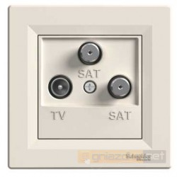 Gniazdo TV SAT SAT kremowe Schneider Asfora