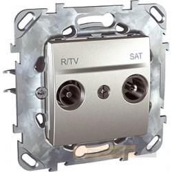 Gniazdo RTV SAT aluminium Schneider Unica Top