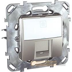 Gniazdo komputerowe pojedyncze Kat.5e RJ45 aluminium Schneider Unica Top