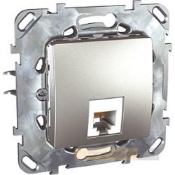 Gniazdo telefoniczne pojedyncze RJ12 aluminium Schneider Unica Top