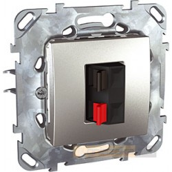 Gniazdo głośnikowe podwójne aluminium Schneider Unica Top