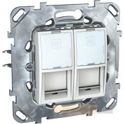 Gniazdo komputerowe podwójne Kat.5e RJ45 biel polarna Schneider Unica Plus