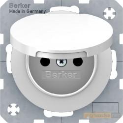 Gniazdo z klapką z uziemieniem biały połysk Berker R.1/R3
