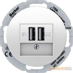 Ładowarka USB biały połysk Berker R.classic